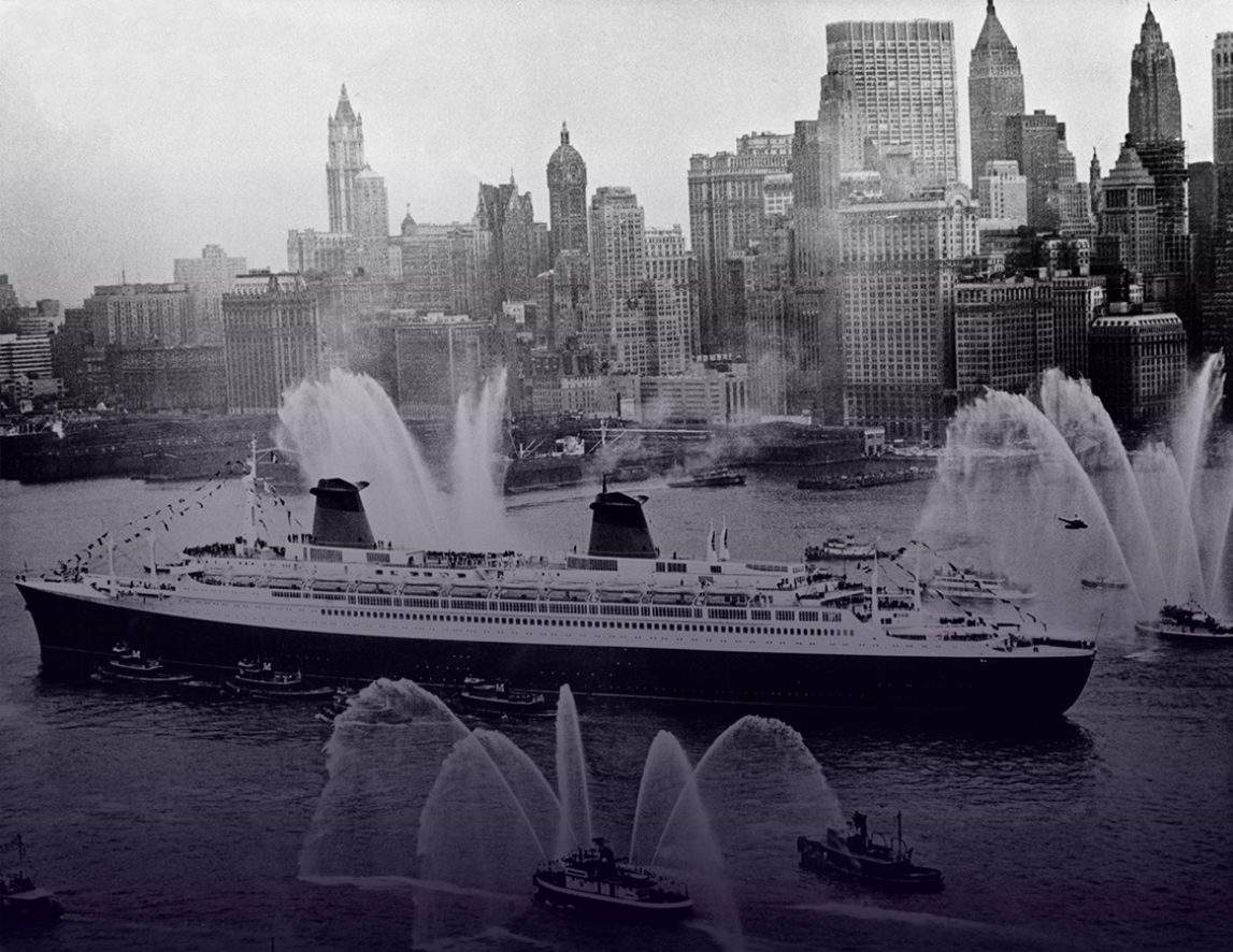 Arrivée du paquebot France à New York en 1962
